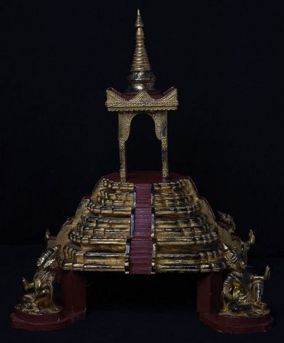 Late 20th Century, Burmese Wooden Throne with Gilded Gold and Angels