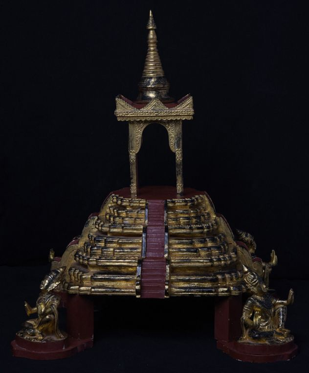 Burmese Wooden Throne with Gilded Gold and Angels