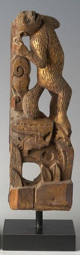 19th Century, Qing Dynasty, Chinese Wooden Monkey