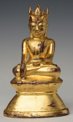 15th Century, Ava, RARE Burmese Bronze Seated Crowned Buddha
