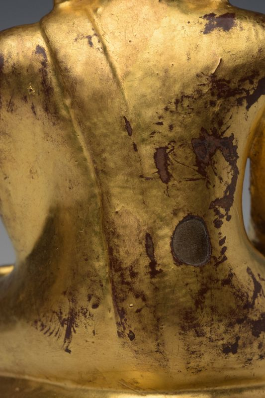 15th Century, Ava, RARE Burmese Bronze Seated Crowned Buddha