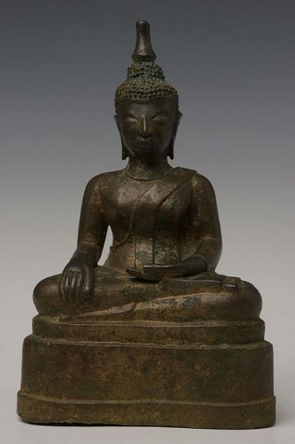 18th Century, Laos Bronze Seated Buddha