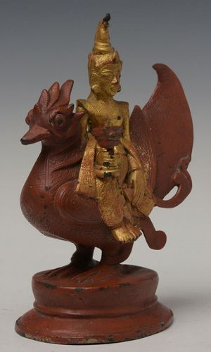 19th Century, Mandalay, Burmese Bronze Figure of Angel and Peacock