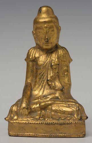 19th Century, Mandalay, Burmese Wooden Seated Lotus Buddha