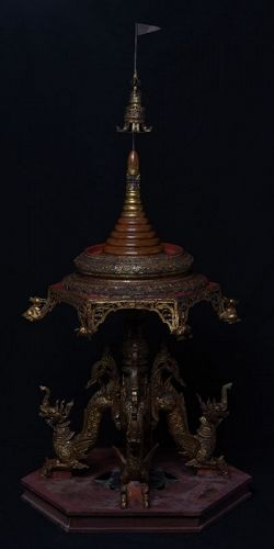 Early 19th Century, Burmese Wooden Offering Tray with Mythical Animals