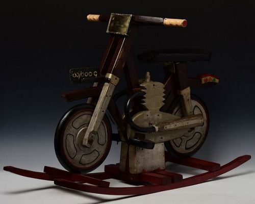 Early 20th Century, Burmese Wooden Motorcycle Toy