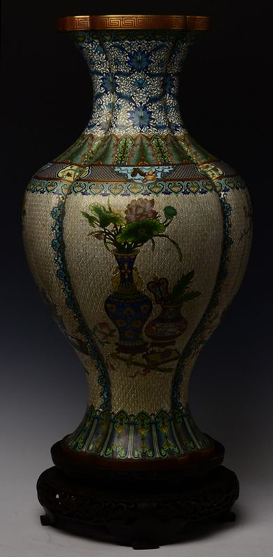 19th Century, Qing Dynasty, Chinese Bronze Cloisonne Vase