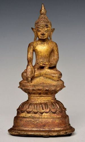 16th Century, Shan, Burmese Bronze Seated Buddha on Double Lotus Base