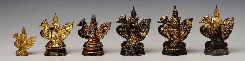 19th Century, Mandalay, Burmese Metal Angel Riding Peacock