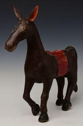 19th Century, Mandalay, Burmese Wooden Standing Horse
