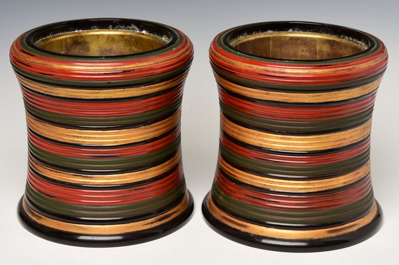 Showa, A Pair of Japanese Keyaki Lacquered Hibachi Vessels