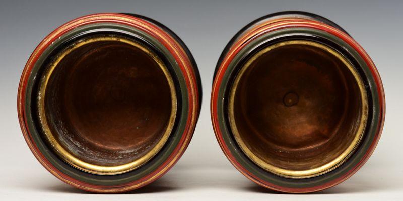 Showa, A Pair of Japanese Keyaki Lacquered Hibachi Vessels