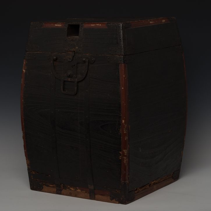 19th Century, Edo, Japanese Wooden Samurai Armor Case with Leather