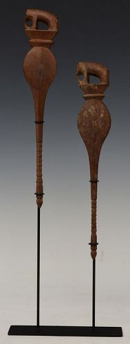 19th C., A Pair of Thai Weaving Tools in The Form of Elephant