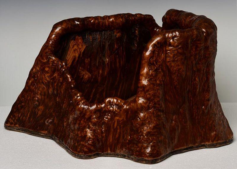 19th Century, Edo, Japanese Keyaki Wooden Hibachi Vessel