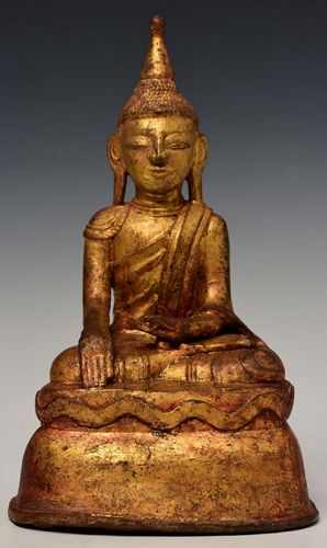 16th Century, Shan, Burmese Bronze Seated Buddha with Gilded Gold