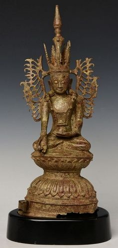 17th Century, Shan, RARE Burmese Bronze Seated Crowned Buddha