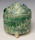 Chinese Green Glazed Pottery Covered Cosmetic Box with Silvery Surface