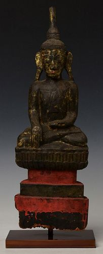 17th Century, Shan, Burmese Wooden Seated Buddha on Double Base