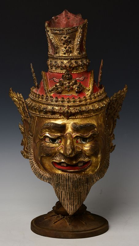 Thai Wooden Head of An Old Man with Gilded Gold and Glass