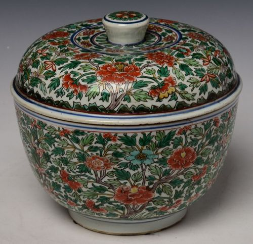 Early 18th C., Kangxi, Large Chinese Porcelain Colored Covered Bowl