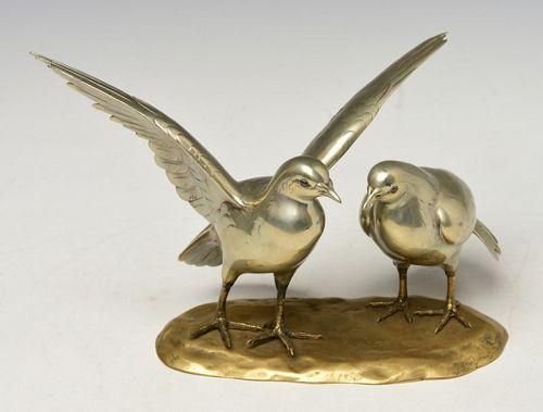 Showa, A pair of Rare Japanese Bronze Okimono Albatrosses