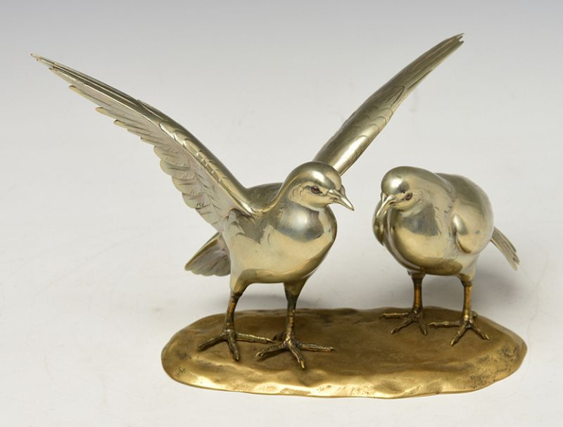 Early 20th C., Showa, A Pair of Rare Japanese Bronze Okimono Birds