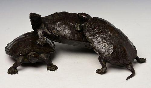 18th C., Edo, Extremely Rare Japanese Bronze Signed Triple Turtles