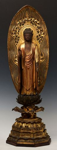 Late 17th C., Edo, Japanese Wooden Standing Buddha with Royal Style