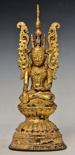 Late 18th Century, Late Shan, Burmese Bronze Seated Crowned Buddha