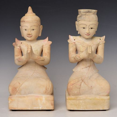 18th Century, Shan, A Pair of Burmese Soapstone Seated Angels