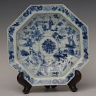 Kang Xi, Chinese Porcelain Blue and White Octagonal Plate