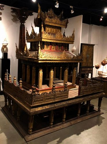 19th C., Burmese Wooden Model of The Palace with Gilded Gold Part 1