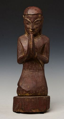 18th Century, Shan, Rare Burmese Wooden Seated Disciple