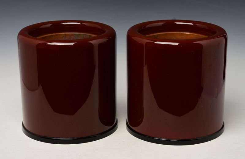 Mid-20th Century, A Pair of Japanese Keyaki Lacquered Hibachi Vessels