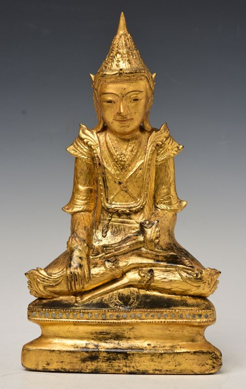 19th Century, Mandalay, Burmese Wooden Seated Crowned Buddha