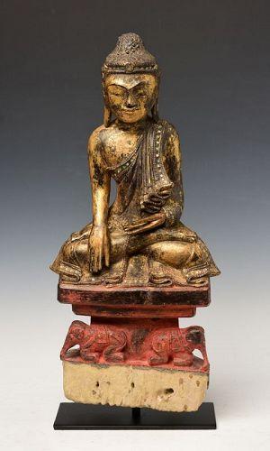 18th Century, Shan, Rare Burmese Wooden Seated Buddha with Elephants