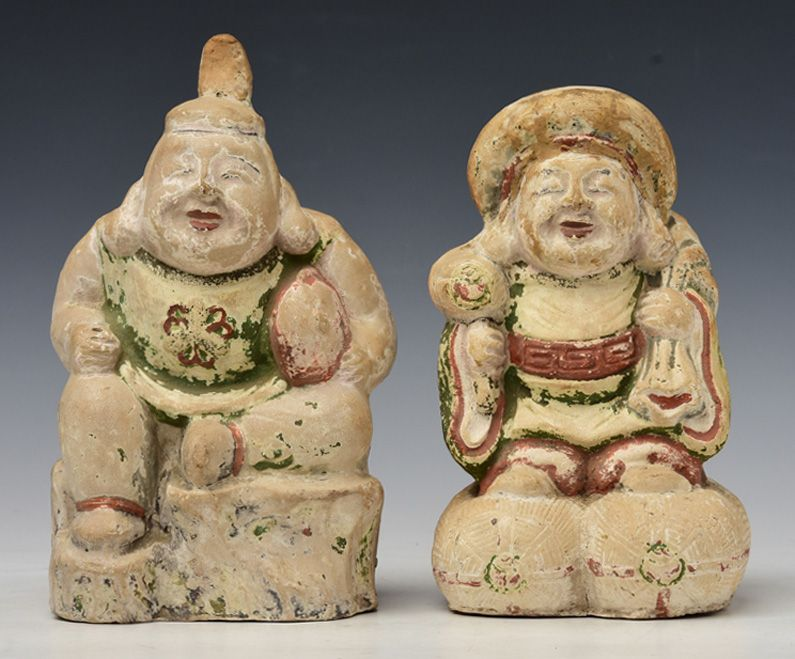 Early 20th Century, Showa, A Pair of Japanese Painted Pottery Figures