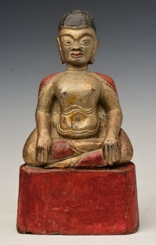 19th Century, Thai Wooden Seated Happy Buddha
