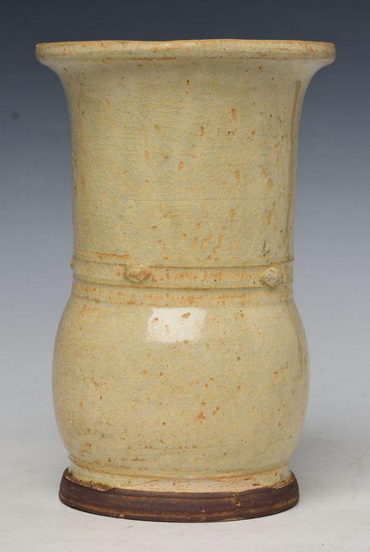 15th Century, Vietnamese Creamy Glaze Stoneware Vase