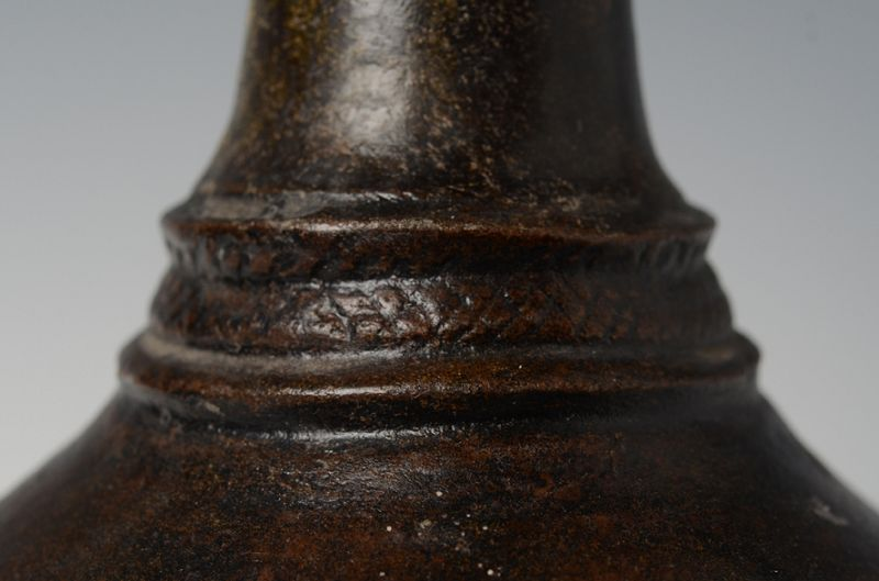 12th - 13th Century, Bayon, Khmer Dark-Brown Glazed Pottery Vase