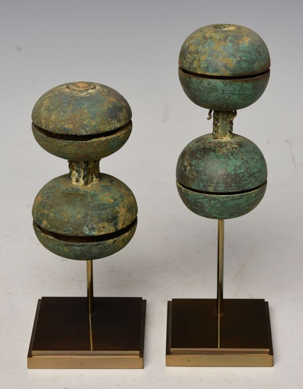 12th Century, Angkor Vat, A Pair of Khmer Bronze Hand Bells