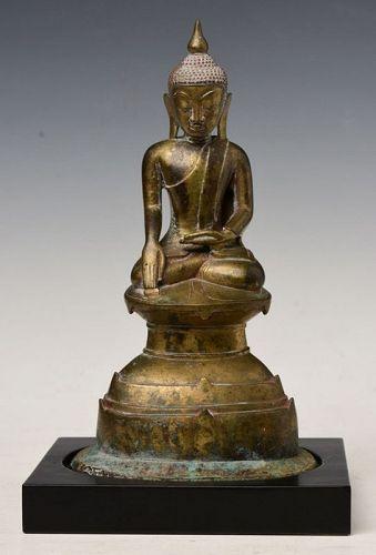 17th Century, Shan, Burmese Bronze Seated Buddha on Double Base