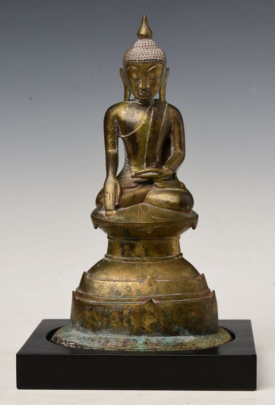 17th Century, Shan, Burmese Bronze Seated Buddha on Double Base