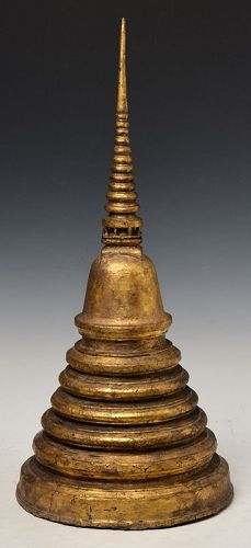 17th Century, Ayutthaya, Thai Bronze Pagoda with Gilded Gold