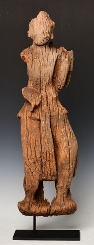 15th Century, Ava, Burmese Wooden Standing Angel