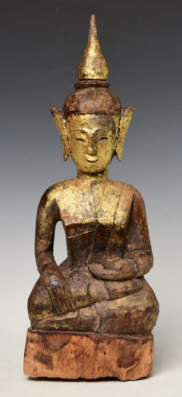18th Century, Shan, Tai Lue Burmese Wooden Seated Buddha