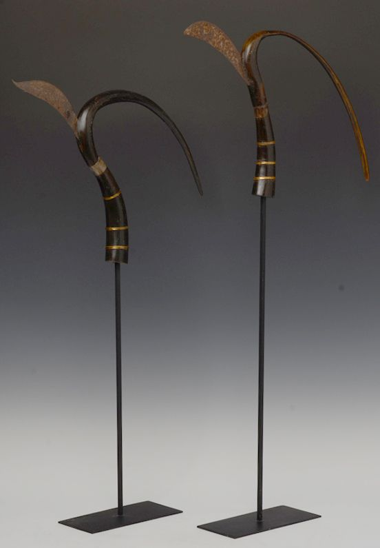 20th Century, A Pair of Cambodia Rice-Cutting Buffalo Horn Tools