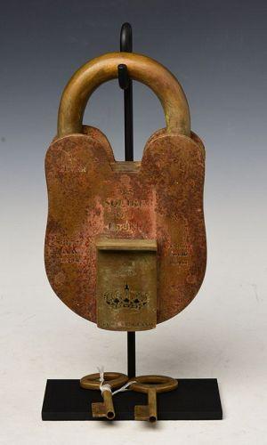 20th Century, Rare and Large British Bronze Lock