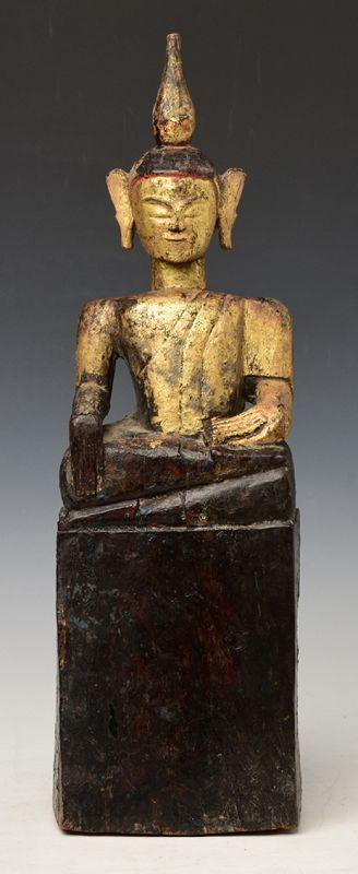 18th Century, Shan, Tai Lue Burmese Wooden Seated Buddha